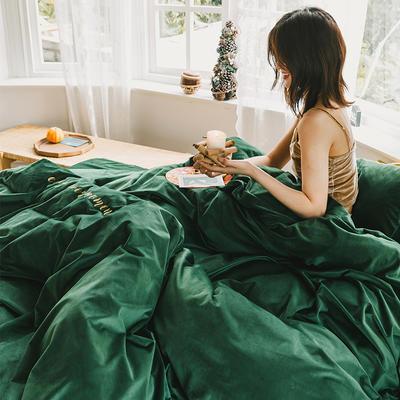 2019意大利绒丽丝绒保暖套件-简约款四件套 1.5m床单款四件套 墨绿