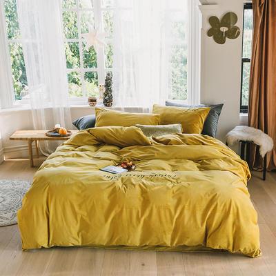 2019意大利绒丽丝绒保暖套件-简约款四件套 1.5m床单款四件套 柠黄