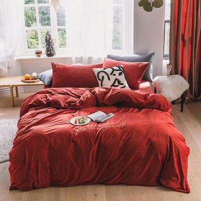 2019意大利绒丽丝绒保暖套件-简约款四件套 1.5m床单款四件套 暖红