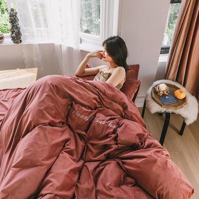 2019意大利绒丽丝绒保暖套件-简约款四件套 1.5m床单款四件套 橡树红