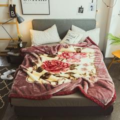2018秋冬 拉舍尔毛毯 200x230cm    7斤 花舞
