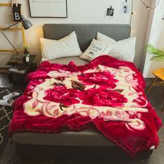 2018秋冬 拉舍尔毛毯 200x230cm    7斤 心相月-玫红