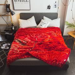 2018秋冬 拉舍尔毛毯 180x200cm    6斤 绽放玫瑰