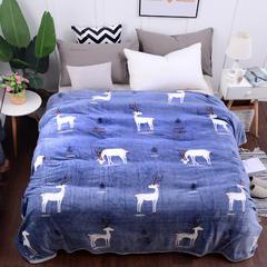 2018新款云貂绒毛毯毯子 1.0*1.5cm 森林鹿-蓝