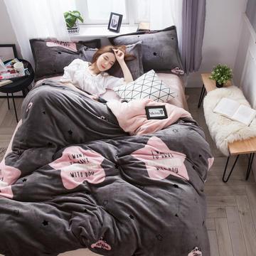 2018新款-法兰绒三/四件套 1.2m床(三件套床单款) 想你的夜