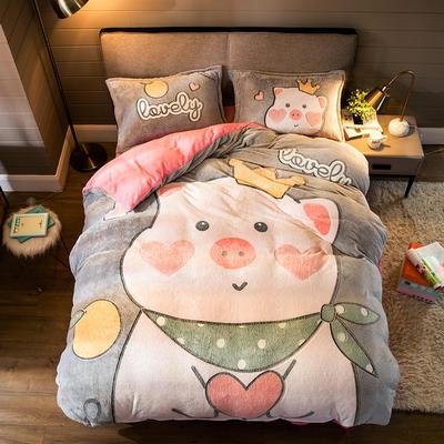 2019新款大阪小版雪花绒四件套 1.8m床单款 暖心小猪