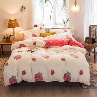 2019新款大阪小版雪花绒四件套 1.2m床单款 草莓