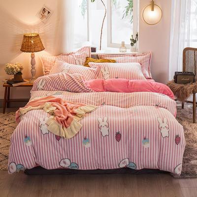 2019新款大阪小版雪花绒四件套 1.2m床单款 草莓兔