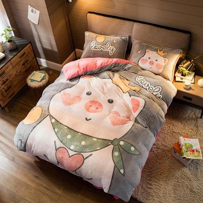2019新款大版雪花绒四件套 1.8m床单款四件套 暖心小猪