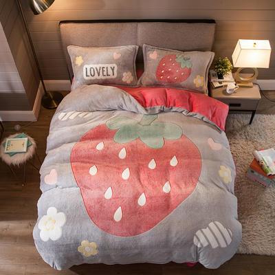 2019新款大版雪花绒四件套 1.8m床笠款四件套 甜心草莓