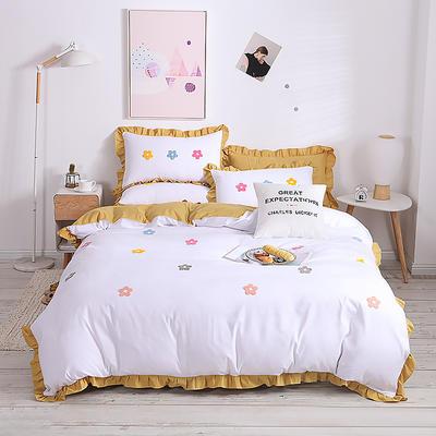 2020新款亲肤棉毛巾绣四件套 1.2m床单款三件套 泫雅花-白黄