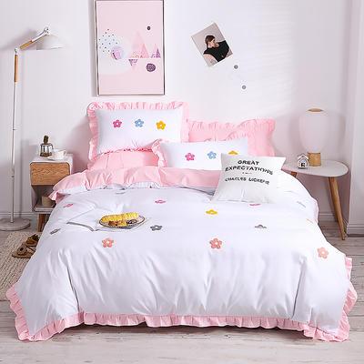 2020新款亲肤棉毛巾绣四件套 1.2m床单款三件套 泫雅花-粉白