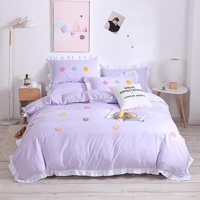 2020新款亲肤棉毛巾绣四件套 1.2m床单款三件套 泫雅花-全紫