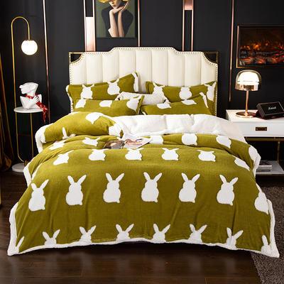 2020新款舒棉绒四件套 1.35m床单款四件套中号 可爱兔