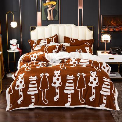 2020新款舒棉绒四件套 1.35m床单款四件套中号 萌猫派对