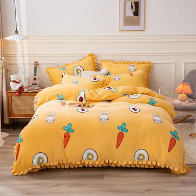 2020新款全棉牛奶床盖三件套四件套 单床盖150x230cm 贪吃兔-黄