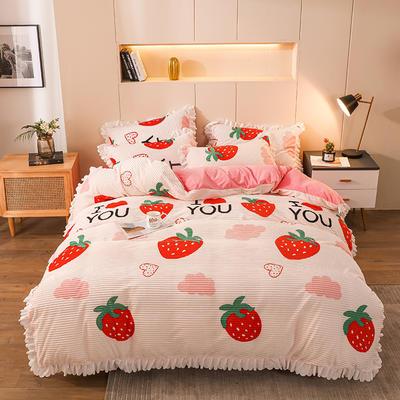 2020新款魔法绒荷叶边印花四件套 1.5m床单款四件套 爱心草莓