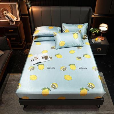 2021新款冰丝凉席亲肤床笠款 120×200cm 柠檬