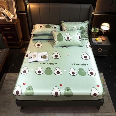 2021新款冰丝凉席亲肤床笠款 150×200cm 牛油果-绿