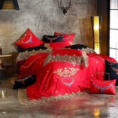 法式蕾丝刺绣60长绒棉婚庆四件套 2.0m(6.6英尺)床 中国红