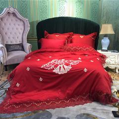 高端法式蕾丝60S绣花四件套 1.8m(6英尺)床 曼斯特大红