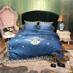 高端法式蕾丝60S绣花四件套 1.8m(6英尺)床 曼斯特深空蓝