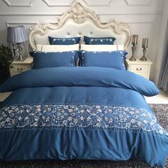60支长绒棉绣花2 1.8m(6英尺)床 露莎蓝