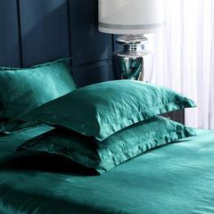 2019新品水洗真丝便宜款系列单枕套 48cmX74cm/一对 翡翠绿