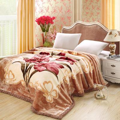 拉舍尔毛毯4斤-12斤+花型多多 (经典款) 1.5*2.0m(4斤) 爱恋百合-驼