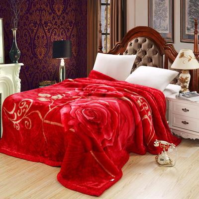 拉舍尔毛毯4斤-12斤+花型多多 (经典款) 1.8*2.2m(6斤) 玫瑰情深-大红