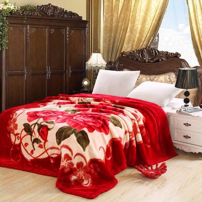 拉舍尔毛毯4斤-12斤+花型多多 (经典款) 1.5*2.0m(4斤) 心相月-大红