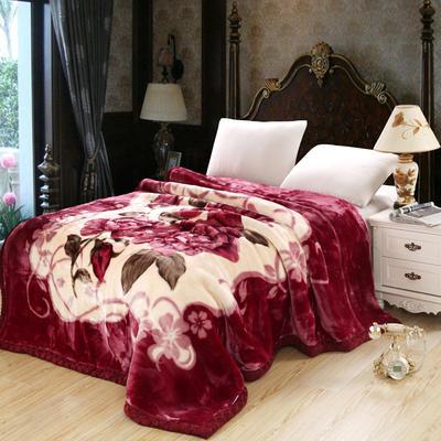 拉舍尔毛毯4斤-12斤+花型多多 (经典款) 1.5*2.0m(4斤) 心相月-橡皮红