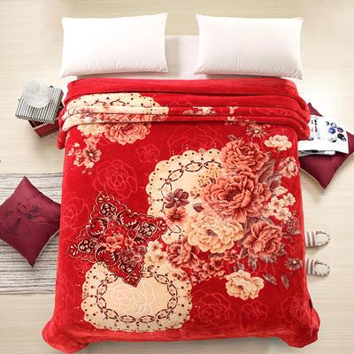 天丝毯 专版花型 200cmx230cm 柔情蜜语大红色