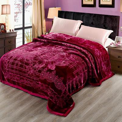 玉雕-精品素色压花毯 200cmx240cm±0.5cm 玉雕-酒红