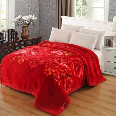拉舍尔毛毯4斤-12斤+花型多多 (经典款) 1.8*2.2m(6斤) 天生一对-大红