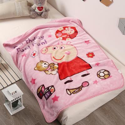 2020新款压花云毯童毯 100*130cm 佩奇小猪-粉色