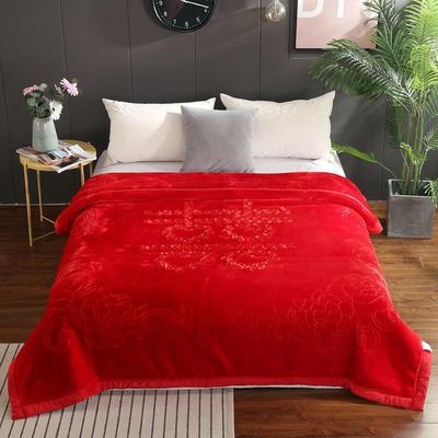 婚庆系列—苏绣毯 2*2.3m 欢天喜地-大红