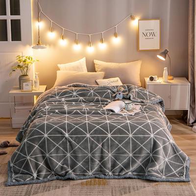 2020新款拉舍尔毛毯学生毯加厚双层4斤–8斤 150*200cm  4斤 灰菱格