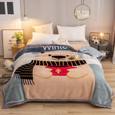2020新款拉舍尔毛毯学生毯加厚双层4斤–8斤 150*200cm  4斤 胖熊先生
