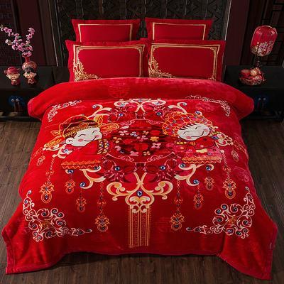 婚庆系列云毯 200x230cm  6斤 喜结良缘-大红
