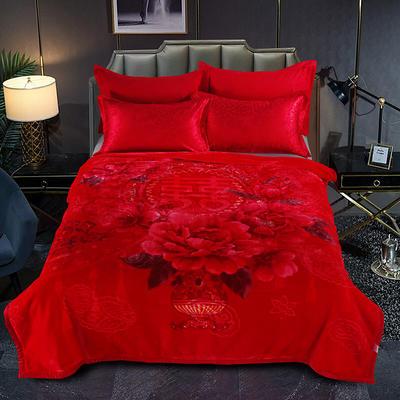 婚庆系列云毯 200x230cm  5.2斤 喜事连连-大红