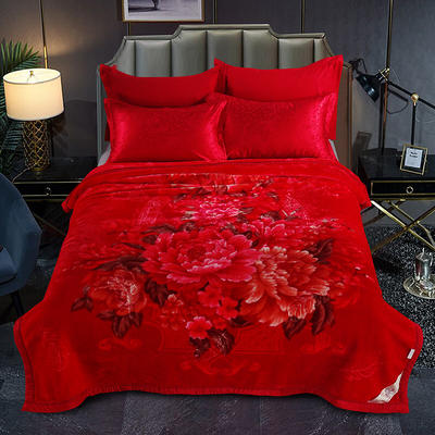 婚庆系列云毯 200x230cm  8斤 相濡以沫-大红