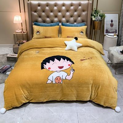 2019新款美肤绒四件套—小丸子系列 1.2m床单款三件套 黄色