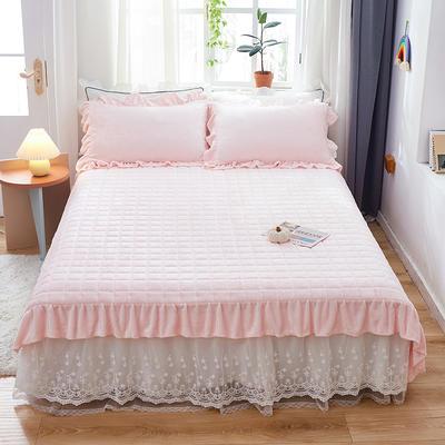 2020新款牛奶绒多功能床盖床垫 单床盖200cmx230cm 粉玉