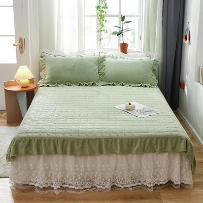 2020新款牛奶绒多功能床盖床垫 单床盖200cmx230cm 果绿