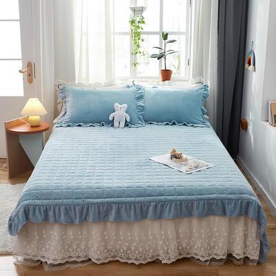 2020新款牛奶绒多功能床盖床垫 单床盖200cmx230cm 天蓝