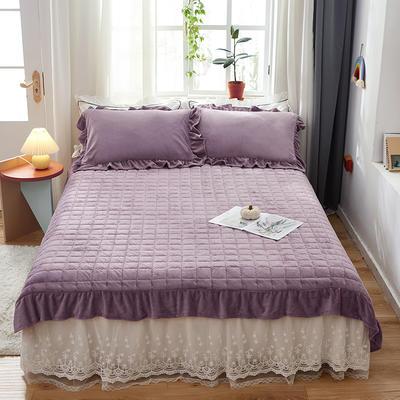 2020新款牛奶绒多功能床盖床垫 单床盖200cmx230cm 熏衣紫