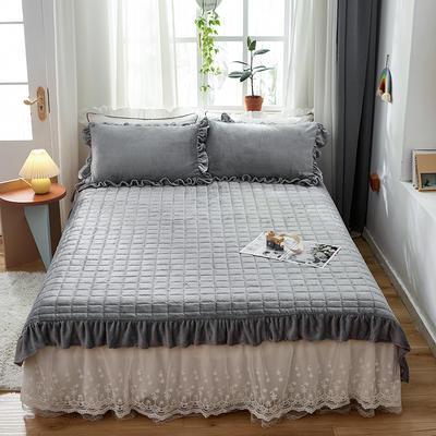 2020新款牛奶绒多功能床盖床垫 单床盖200cmx230cm 银灰