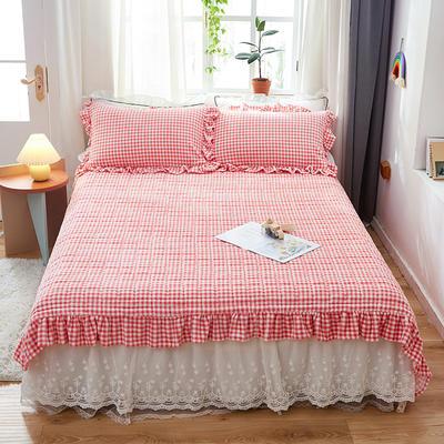2020新款牛奶绒多功能床盖床垫 单床盖200cmx230cm 粉红格