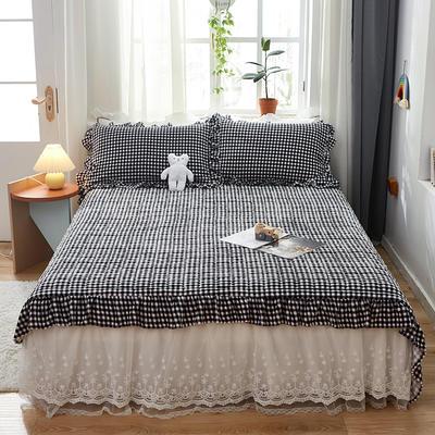 2020新款牛奶绒多功能床盖床垫 单床盖200cmx230cm 黑白小格
